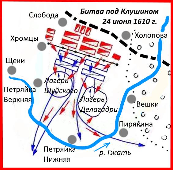 Схема битвы с деревнями и названиями