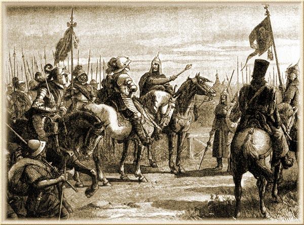 Князь М. Скопин - Шуйский встречает шведского генерала Я. Делагарди близ Великого Новгорода. Гравюра Шоблера