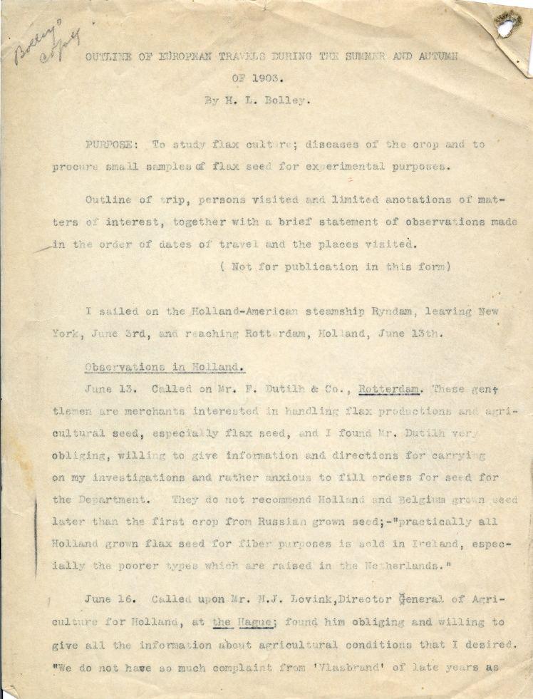 Страницы дневника Генри Люка Боллея (1903 год)